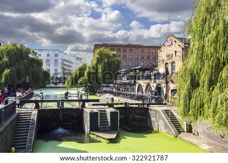LONDON, UNITED KINGDOM - OCTOBER 1, 2015: Camden Lock, Hampstead Road Locks is a twin manually operated lock on the Regent's Canal in Camden Town, London Borough of Camden in October 01, 2015. - stock photo