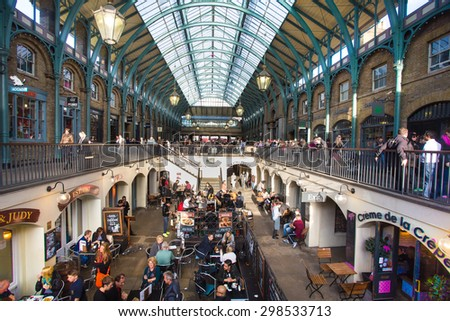 LONDON, UNITED KINGDOM - OCTOBER 10, 2014:  View of The Market Building at Covent Garden in London. - stock photo