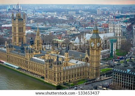 London, United Kingdom - Palace of Westminster (Houses of Parliament) Big Ben clock tower. UNESCO World Heritage Site. - stock photo