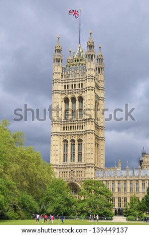 London, United Kingdom - Palace of Westminster (Houses of Parliament) with Big Ben clock tower. UNESCO World Heritage Site. London England UK - stock photo