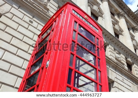 London, United Kingdom - red telephone booth typical for England - stock photo