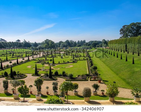LONDON, UNITED KINGDOM - SEPT 5, 2004:  The Privy Garden at Hampton Court Palace Home of Henry VIII on Sept 5, 2004 in borough Richmond upon Thames, London, United Kingdom 
