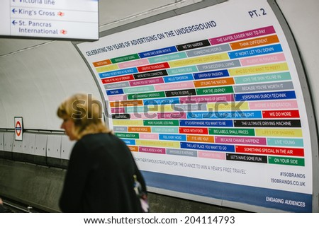 LONDON, UNITED KINGDOM - SEPTEMBER 01, 2013: London Tube Underground celebrates its 150 anniversary. To mark this date of the London's tube system, giant advertising poster are exposed on stations. - stock photo