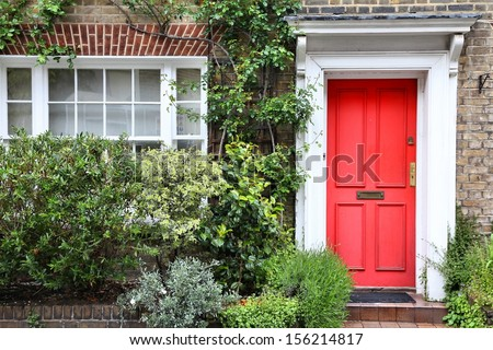 London, United Kingdom - typical Victorian architecture door. - stock photo