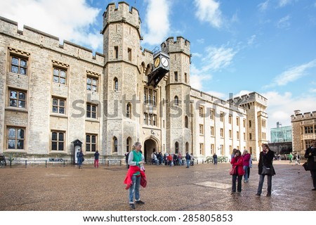 LONDON, UNITED KINGDOM - View outside the building that houses the Crown Jewels exhibit at historic Tower of London.  - stock photo