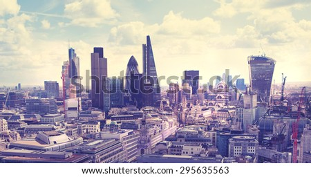 London. View on business modern district - stock photo
