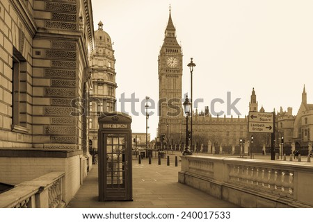 London Vintage - Big Ben tower and a red telephone booth in Black & White - stock photo