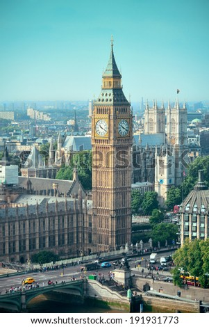 London Westminster with Big Ben and street. - stock photo
