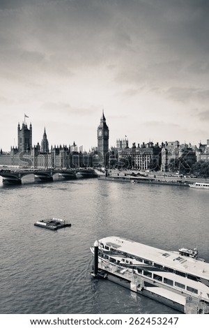 London Westminster with Big Ben bridge and boat. - stock photo