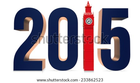 London 2015 with Big Ben against white background - stock photo