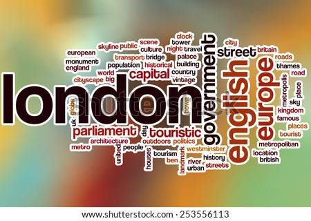 London word cloud concept with abstract background - stock photo