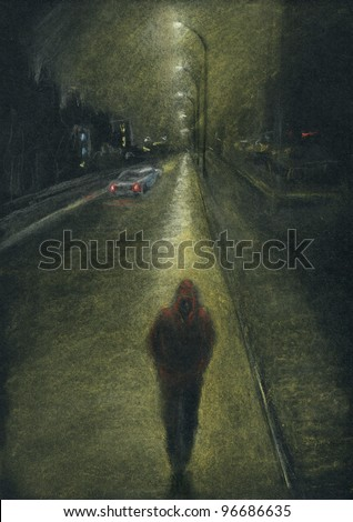 Lone man on the night city road. Night city, lone man on the road, back light effect. Pastel chalks on black paper. - stock photo