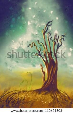 lone oak tree. watercolor - stock photo