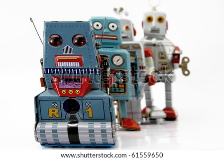 lone of robot toys - stock photo