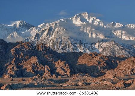 Lone Pine Peak and Alabama Hills shortly after sunrise Eastern Sierra Nevada Mountains, California, USA - stock photo