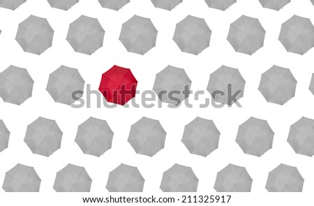 lone red umbrella on white - stock photo