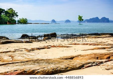 Lone tree in sea off Khlong Muang Beach, Krabi, southern Thailand - stock photo