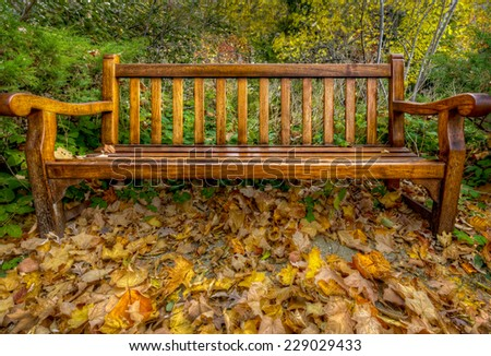 Lonely Autumn Bench surrounded by colorful leaves - stock photo