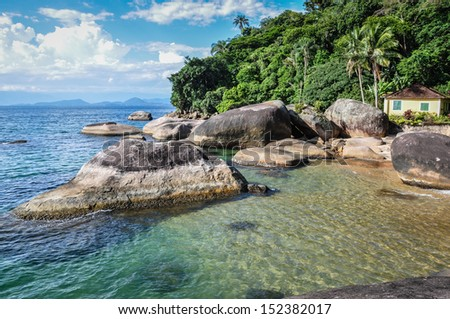 Lonely Beach House at Ilha Grande, Rio do Janeiro, Brazil. - stock photo