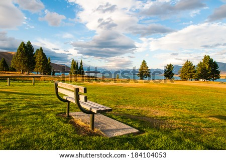 lonely bench  - nobody outdoor park day concept tranquil empty  - stock photo