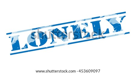 lonely blue stamp on white background - stock photo