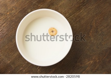 Lonely cereal floating on milk. concept of poverty. - stock photo