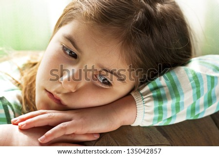 Lonely Child -Children's sad face - stock photo
