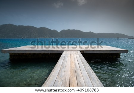 lonely empty wooden jetty