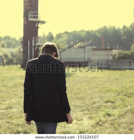 lonely guy - stock photo
