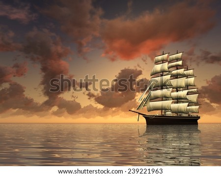 Lonely ship at sunset. Digitally rendered of sailing ship. - stock photo