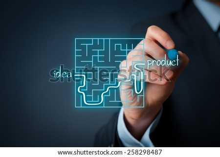 Long and difficult way from business idea to successful product. Marketing product specialist plan new product.  - stock photo