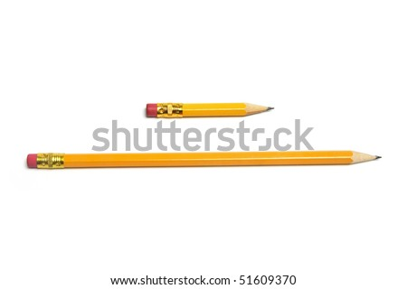Long and Short Pencils on White Background - stock photo
