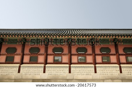 Long Asian Temple Wall(Release Information: Editorial Use Only. Use of this image in advertising or for promotional purposes is prohibited.) - stock photo