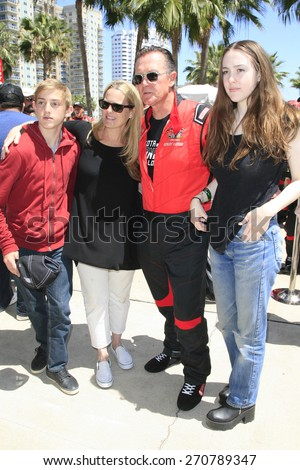 LONG BEACH - APR 18: Robert Patrick, wife Barbara Patrick, son Sam, daughter Austin at the Toyota Grand Prix Of Long Beach Pro/Celebrity Race - Race Day on April 18, 2015 in Long Beach, California - stock photo