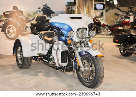 Long Beach, CA - November 13, 2014: Harley-Davidson Tri Glide Ultra 2015 on display at the International Motorcycle Show - stock photo