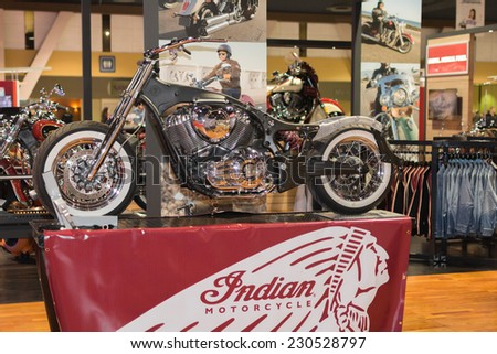 Long Beach, CA - November 13, 2014: Indian motorcycle chassis design 2015 on display at the International Motorcycle Show - stock photo