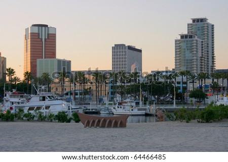 long beach california city skyline at sunset - stock photo