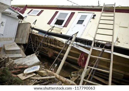 LONG BEACH ISLAND,NJ-NOVEMBER 1: Houses destroyed by the storm surge caused by Hurricane Sandy. Nov 1 2012, Long Beach Island, NJ - stock photo