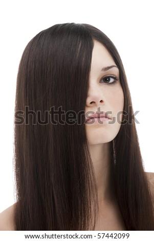 Long beautiful hair covering half face - stock photo