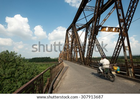 Long Bien Bridge in Hanoi, Vietnam - stock photo