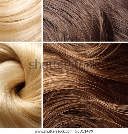 long blond hair collage - stock photo
