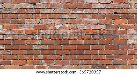 Long brick wall background - an old red brick wall with lots of character. Ideal urban modeling background for fashion or pop music industry. Also ideal background for sign; poster or street name. - stock photo