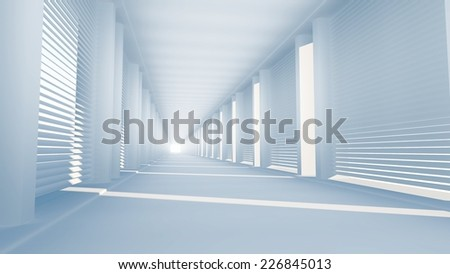 long bright corridor with side shining sunlight passing through venentian blinds - stock photo