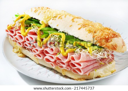 Long Ciabatta Sandwiches with  ham, and cheese - stock photo