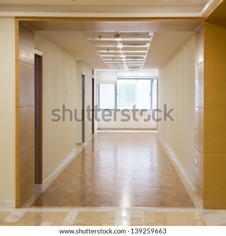 long corridor in the hospital. - stock photo