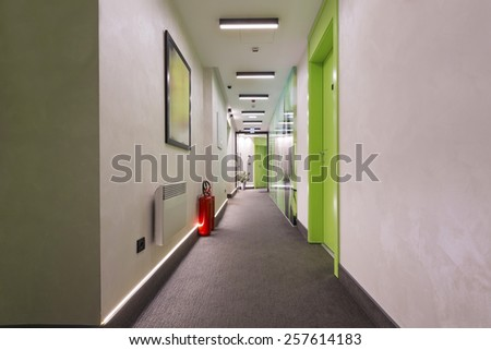 Long corridor interior - stock photo