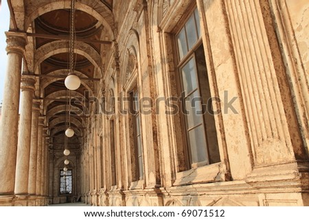 long corridor of the Citadel of Cairo, unesco world heritage, Egypt - stock photo