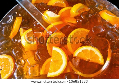 Long-drink with orange slices - stock photo