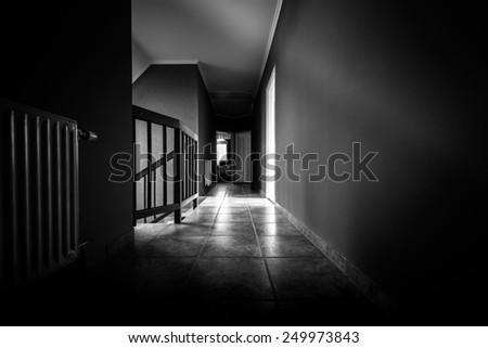 Long Empty corridor in a modern building - stock photo