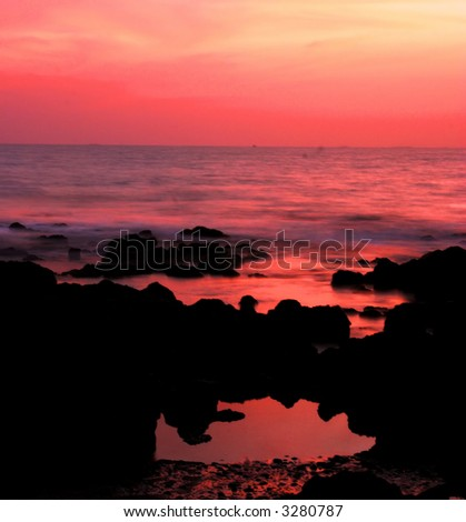 long exposure after sunset (goa, India) #4 - stock photo